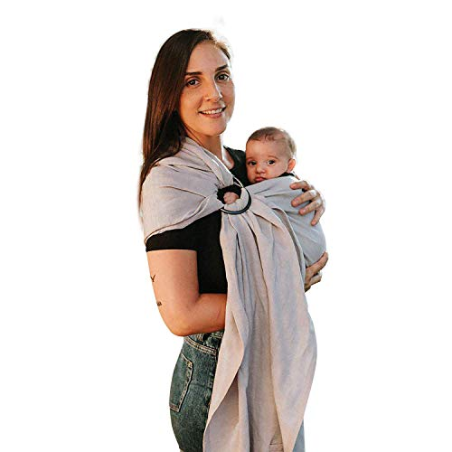 Nalakai Luxury Ring Sling Baby Carrier – Extra-Soft Bamboo and Linen Fabric - Lightweight wrap - for Newborns, Infants and Toddlers - Perfect Baby Shower Gift - Nursing Cover (Soft Rain Grey)