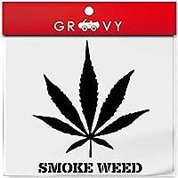 大麻 ステッカー smoke weed スモーク ウィード マリファナ ガンジャ レゲエ ラスタ ヘンプ カッティングステッカー シール デカール_1033 (ブラック)