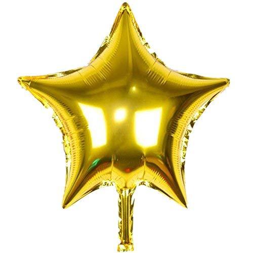 """TRIXES Paquete de 5 Globos de 18"""" Estrellas en Oro Helio Metálico Celebración de Fiestas Decoración Festiva de Mesa"""