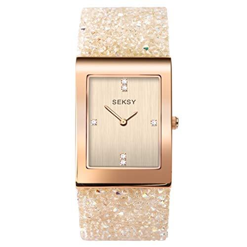 Sekonda Seksy Rocks Damen-Armbanduhr mit Swarovski-Kristallen, Lederarmband 2722