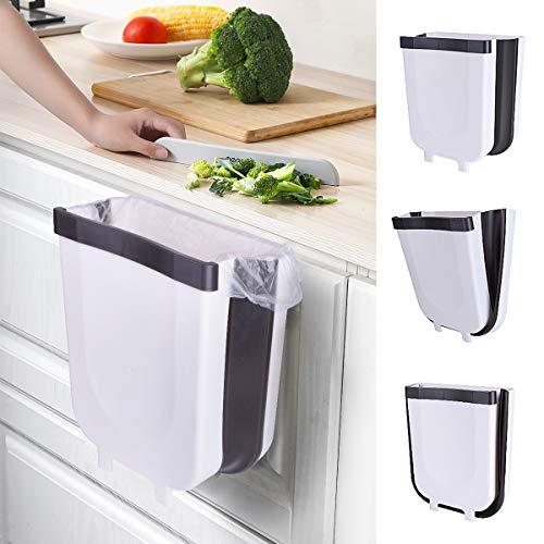 Cubos de Basura Plegable Bote de Basura Colgante Basurero Plegable Basura Extraible para la Cocina, Dormitorio y Coche, 9L, Blanco