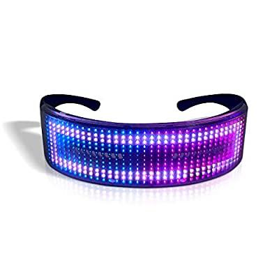 OWSOO LED Party Glasses,Smart LED Glasses,LED BT Glasses,BT/APP Control,LED Light Up Glasses,Flashing Glowing Luminous Glasses,USB Rechargeable,DIY Animation for Christmas Birthday Party Nightclub