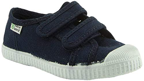 Natural World Basquet Doble Velcro Paris Kinder Schuh 35 Marino (Blau)