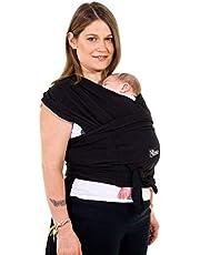 Koala Babycare Une écharpe de portage facile à enfiler, réglable, unisex - Porte-bébé multifonctionnel pour les bébés jusqu'à 10 kg - Écharpe de portage - Noir - Design Enregistré KBC®