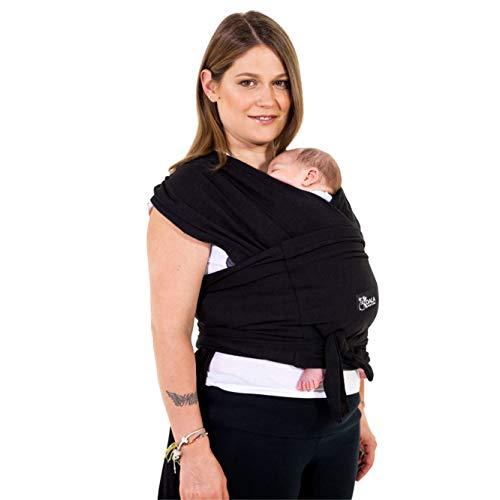 Baby Tragetuch-Leichtes Anziehen (Easy-On) - Unisex - Babytrage Neugeborene Multi-Use Bis 10kg - Babytragetuch Schwarz - Koala Cuddle Band - eingetragenes Design KBC®