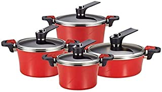 (SET OF 8) Happycall IH Pressuer Vacuum Pot 9-Piece Set, Pressure Stockpot, Induction Capable, Stainless Steel Lid, Cookware Set