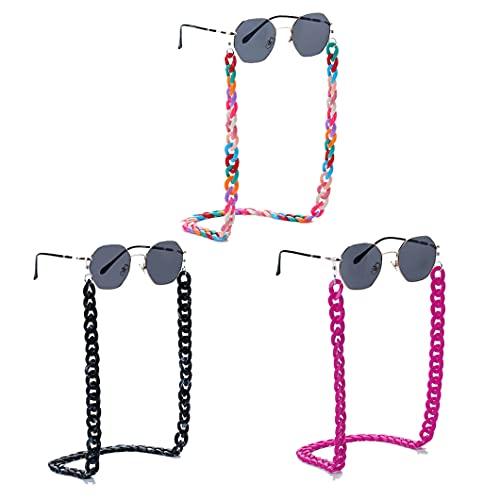 3 piezas Acrílico Cadenas de Gafas Antideslizante Portagafas Soporte de Cuerda Twist Link Gafas Cadena de Collares Retenedor de Gafas Para Mujeres y Hombres