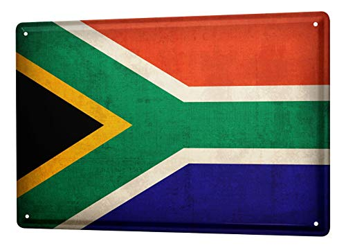 LEotiE SINCE 2004 Blechschild Dekoschild Küche Garage Welt Reise Südafrika Flagge Wand Deko Schild 20X30 cm