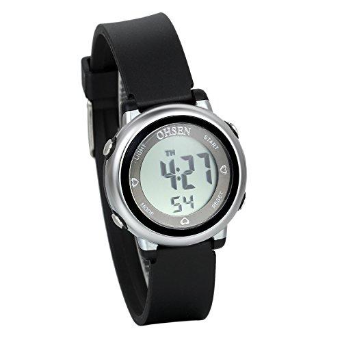 JewelryWe 可愛い ファション 子供腕時計 学生 スポーツウオッチ デジタル表示 多機能 5ATM防水 日付 曜日表示 アラーム ストップウオッチ [ブラック]
