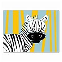 KAKYD ゼブラキャンバス絵画赤ちゃんの部屋の装飾漫画の動物の壁の芸術赤ちゃんの子供部屋の壁の写真40X60Cmx1フレームなし