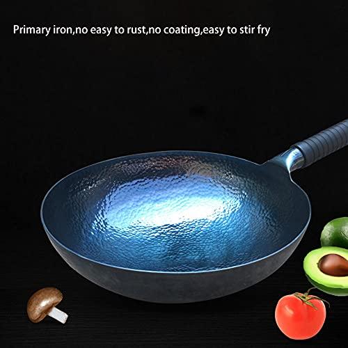 Wok de hierro fundido hecho a mano,grano azul de grano de acero al carbono de grano antideslizante redondo redondo wok sin recubrimiento