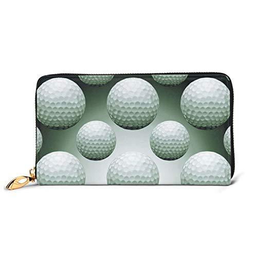 Damen Geldbörse Golfbälle auf Schwarz Groß mit mehreren Kartenfächern Kapazität Leder Damen Geldbörse Lang Clutch Wallet