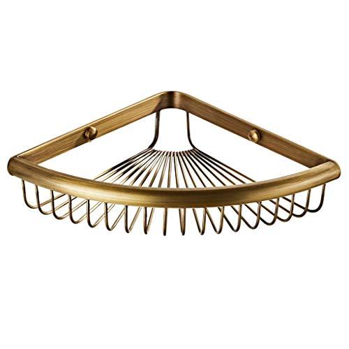 joyMerit Vintage Design Corner Shower Caddy, Brass Wall Mounted Bathroom Shelf, Storage Organizer for Toilet, Dorm and Kitchen - Bronze