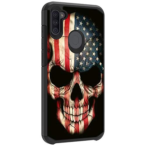 TurtleArmor | Compatible with Samsung Galaxy A11 Case (2020) | A115 | Slim Dual Layer TPU Hard Armor Hybrid Shell Case - US Flag Skull