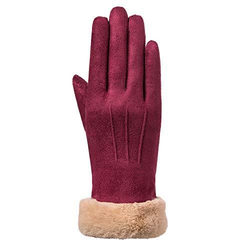 Qiuday Handschuhe Winter Damen Touchscreen Künstliches Wildleder super weiche Handschuhe Outdoor Fahrradhandschuhe dickes Fleecefutter Wildlederhandschuhe