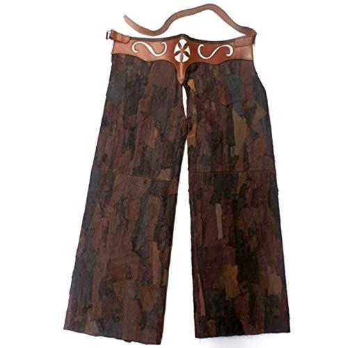 CAZA Y AVENTURA Pernera Hombre Piel diseño marrón Artesanal. Talla M