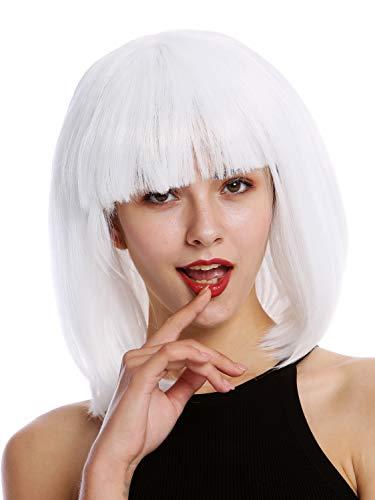 WIG ME UP- 0073-3-P60 Peluca Mujer para Carnaval Halloween Corto Liso Blanco fleqiullo Ciencia ficcin