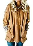 SEBOWEL Womens Oversized Color Block Long Sleeve Tunic Sweaters Tops Sweatshirt Khaki XL