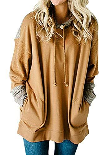 SEBOWEL Womens Oversized Color Block Long Sleeve Tunic Swaeter Tops Sweatshirt Khaki XXL