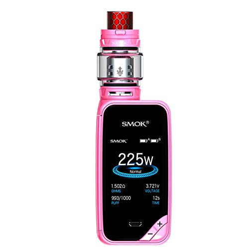 SMOK X PRIV Kit 225W TFV12 Prince 8mL Kit di avvio serbatoio e sigaretta - Include il portachiavi BTKSY - senza nicotina - senza fumo (Auto Pink)