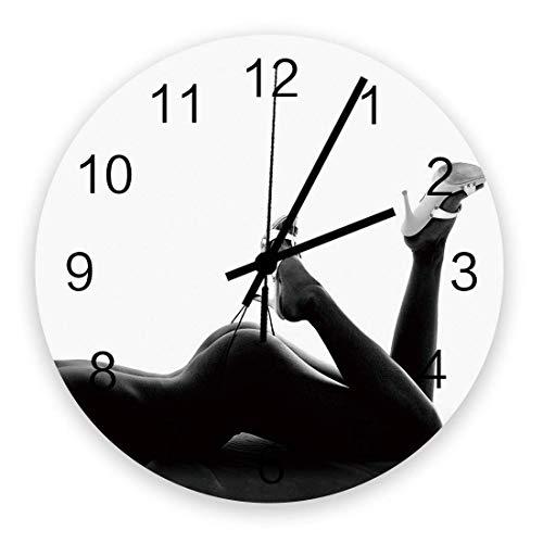 Reloj de Pared Redondo Decorativo Mujeres Sexy con Tacones Altos Reloj de Pared con números arábigos, Relojes de Pared de Cuarzo de Calidad con Pilas de 10 Pulgadas
