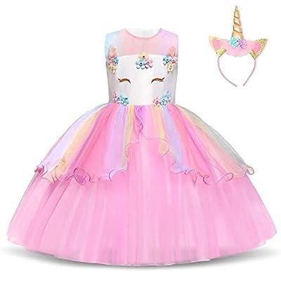 NNJXD Vestido de Unicornio para niñas Fiesta de Apliques de Flores Cosplay Disfraz de Halloween + Gorros Tamaño (110) 3-4 años Rosa