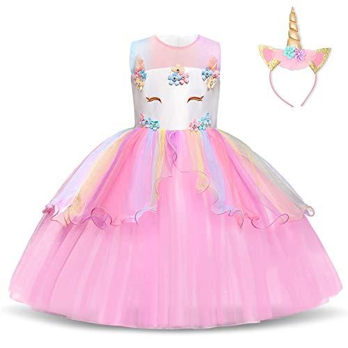 NNJXD Vestido de Unicornio para niñas Fiesta de Apliques de Flores Cosplay Disfraz de Halloween + Gorros Tamaño (150) 9-10 años 439 Rosa-A