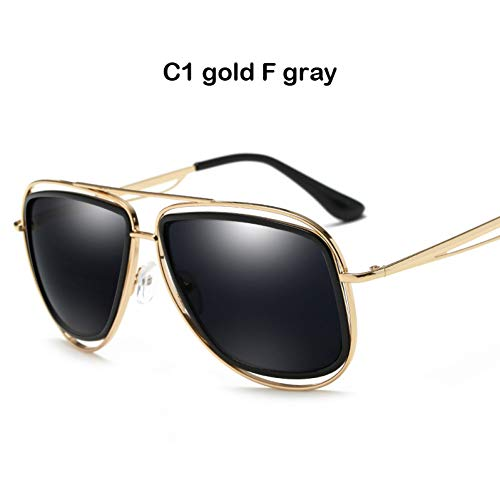 CCGSDJ Oversized Zonnebril Mannen Gradient Lens Bril Vintage Holle Metalen Frame Vrouwen Zonnebril UV400