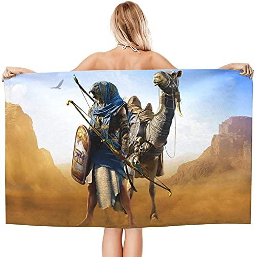 Amacigana Toalla de playa de Assassin 's Creed, toalla de baño, toalla de playa, toalla de secado rápido, para hombre y mujer, perfecta para playa, natación, camping (A06,75 x 150 cm)