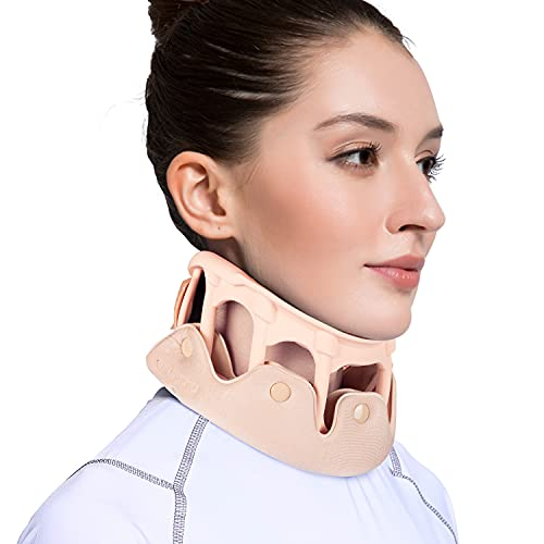 VELPEAU Neck Brace - Silicone Cervical Collar Support for Neck Pain - Soft Breathable Vertebrae Whiplash Wrap Aligns, Stabilizes & Relieves Pressure in Spine for Women & Men (Medium 3″)