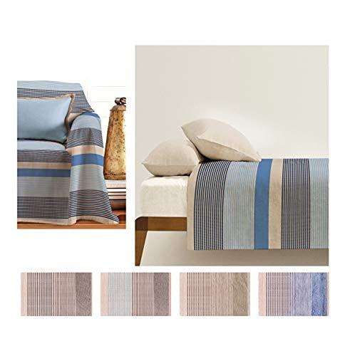 Funda para sofá o sillón, colcha de matrimonio grande, foulard de algodón, modelo PETRA (azul)