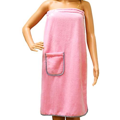 Polyte - Damen Badetuch mit Klettverschluss - schnelltrocknende Mikrofaser - Rosa - Einheitsgröße