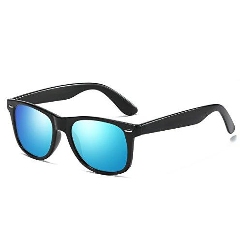 Rocf Rossini Vintage Gafas de sol polarizadas Hombres Mujeres Retro Tonos Protección UV400 (Negro/Azul