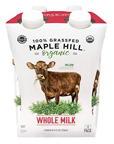 Maple Hill Shelf Stable Milk, 100% Grass-Fed, Organic, Whole White, 8 fl oz (Pack of 4)