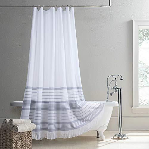 "DS Curtain Doris Yarn Dyed Woven Grey Stripe Tassel Handmade Fringe Trim Polyester Waterproof Fabric Shower Curtain for Bathroom,72"" W x 72"" H"