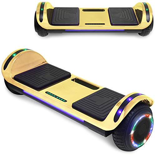 "TPS 6.5"" Chrome Hoverboard Electric Self Balancing Scooter with Bluetooth LED Lights UL2272 Certified (Chrome Gold)"