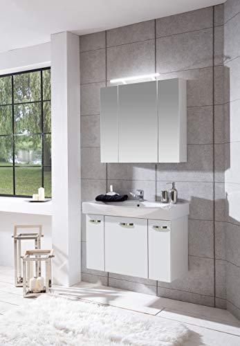 Schildmeyer Badmöbel-Set Paco 2-TLG, Spiegelschrank und Waschtisch inkl. Becken, Waschplatz 700722 weiß Glanz, 80 cm Breite, Holzdekor