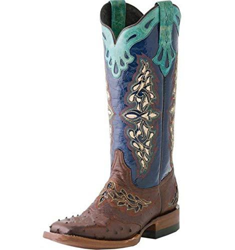 Vrouwen laarzen vintage vierkante hakken herfst winter schoenen vrouw westerse cowboylaarzen vrouwelijke motorlaarzen,Blue,39