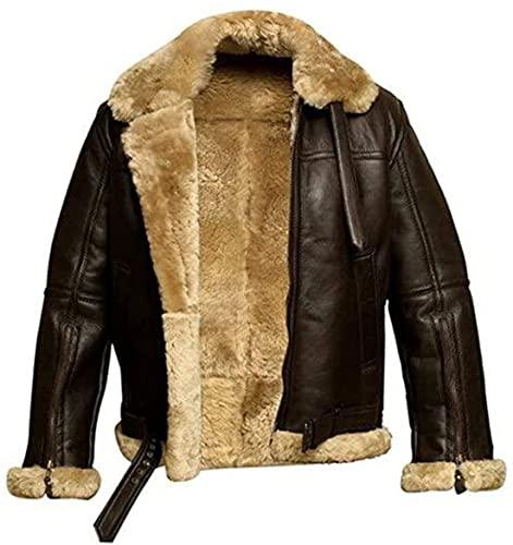 Cazadora de piel de oveja auténtica para hombre de piel de oveja bombardero piloto aviador B3 de la Segunda Guerra Mundial de la Guerra Mundial - Chaqueta bombardera de cuero WW2, Chaqueta Marrón, XL