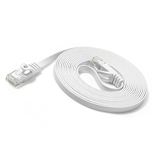 JBSTK 5m Cat.6 Netzwerkkabel Weiss Cat6 Flachbandkabel 5 Meter Patchkabel verlegekabel Ethernet LAN RJ45 Knickschutz 10/100/1000 Mbit/s