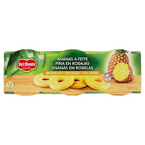 Del Monte Ananas Fette Naturale, 3 x 220g