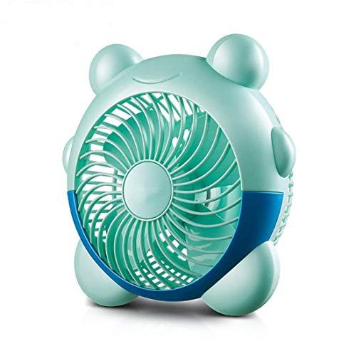 JKUNYU Ventilador eléctrico pequeño ventilador PP materiales Mini segunda velocidad de engranajes Forma Reloj despertador Cama escritorio de oficina residencia de estudiantes Silencio USB Azul 20 * 20