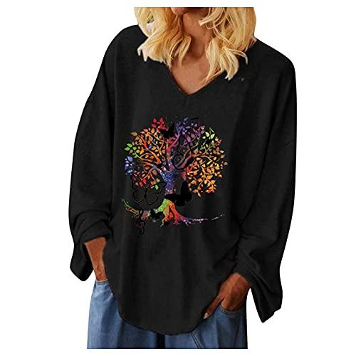 Esque Top De Patchwork para Mujer, Camiseta,Mujeres Casual Tallas Grandes O-Cuello Impreso BotóN Suelto TúNica Blouse Tops,Camisas Volantes Mujer,Jersey Mujer Grandes,Blusas Elegantes,2-Negro,XL