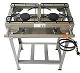 Fogao 2 Bocas Queimador Ferro Fundido Semi Industrial Kit