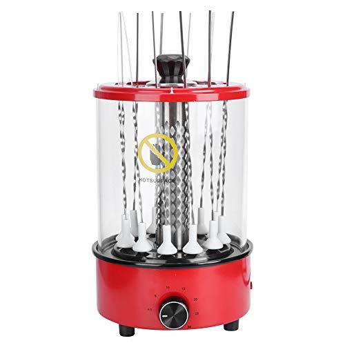 Grillmaschine mit 12 Eisenpicks, 1.1KW Schaschlikgrill Elektrogrill Dönergrill Edelstahl-Grill Tischgrill Edelstahl-Grillgrill, 30 Minuten Timer, 20 x 20 x 31.5 cm (220V)