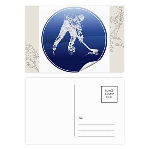 DIYthinker Wintersport Skaten und Eishockey Aquarell-Blumen-Postkarte Set dankt Karte Mailing Side 20pcs 5.7 Zoll x 3.8 Zoll Mehrfarbig