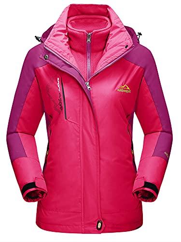 TACVASEN Damen 3-in-1 Jacke Wasserdicht Fleece Gefüttert Kapuzenmantel für Winter Outdoor Ski Sports, Rose Rot, L