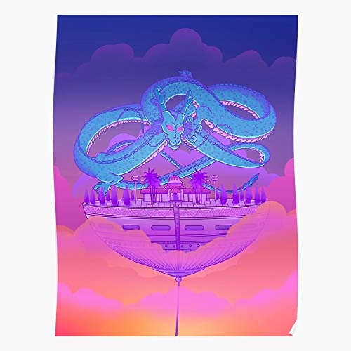 ZHONGYANYAN Vaporwave Japan Vapor Shenlong Anime Sunset Dragon House Gift for Home Decor Wall Art Print Poster