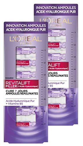 L'Oréal Paris – Ampoules repulpantes – Cure de 7 Jours – Revitalift filler – Concentré en Acide Hyaluronique Pur - Lot de 2