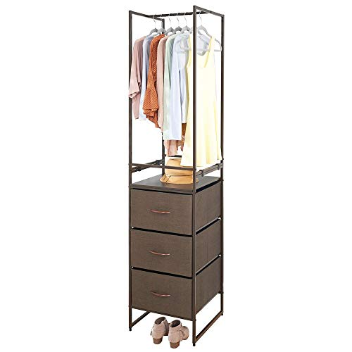 mDesign Modular Closet Organizer System Storage Sturdy Steel Frame Fabric BinsGarment Rack for Bedroom Hallway Entryway Textured Print 3 Drawers Garment Rack - BrownEspresso Brown